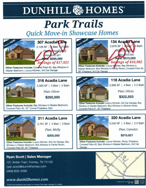 Dunhill Homes – Only 4 more showcase homes left in Park Trails Phase 1