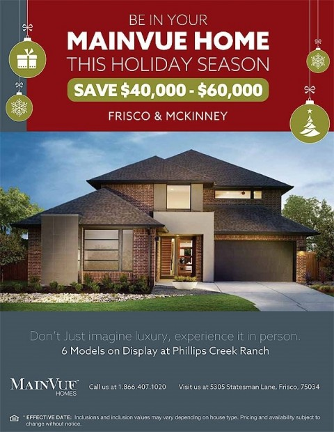Save $40,000- $60,000 This Holiday Season – Mainvue Homes