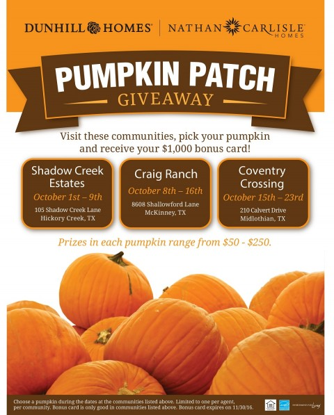 Dunhill Homes & Nathan Carlisle Pumpkin Patch Giveaway