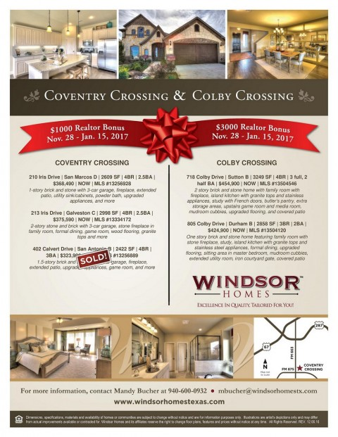 Windsor Homes – Coventry Crossing & Colby Crossing Inventory- Realtor Bonus