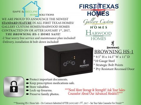First Texas Homes Announces Standard Safes for all Homes